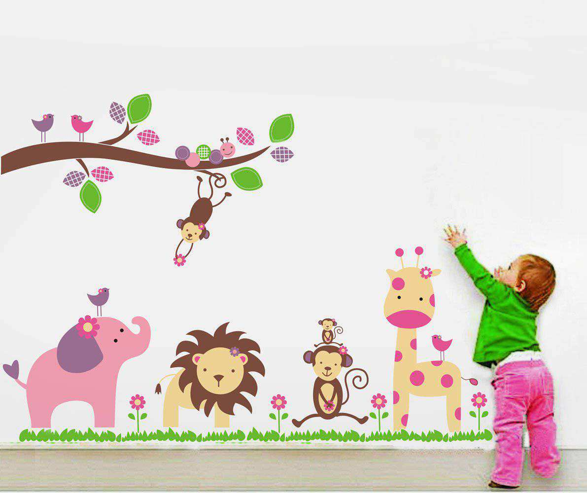 Kids nursery jungle wall decal nursery animals wall stickers jungle wall decal 2 for 20 amipublicfo Choice Image