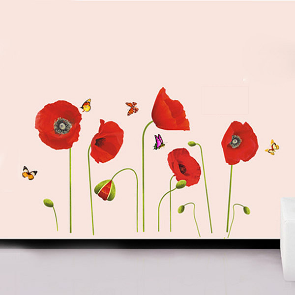 Red Poppy Flowers Wall Stickers