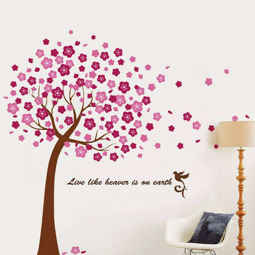Large pink cherry blossom flower tree flowers tree wall decals large pink cherry blossom flower tree amipublicfo Image collections