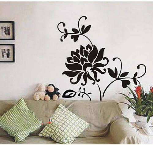 Black Wall Decals vynal black fashion flower wall decal | flowers & tree | wall stickers