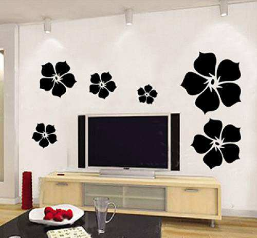 Black Flower Wall Decal Stickers Bedroom Lounge Wall Decals - Wall stickers for bedroom