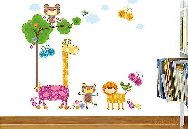 Colorful Jungle Animals Birds Butterflies Wall Art