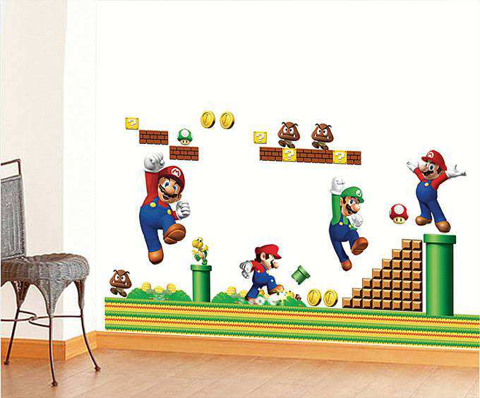 Mario Wall Stickers] Super Mario Luigi Bros Removable Wall ...