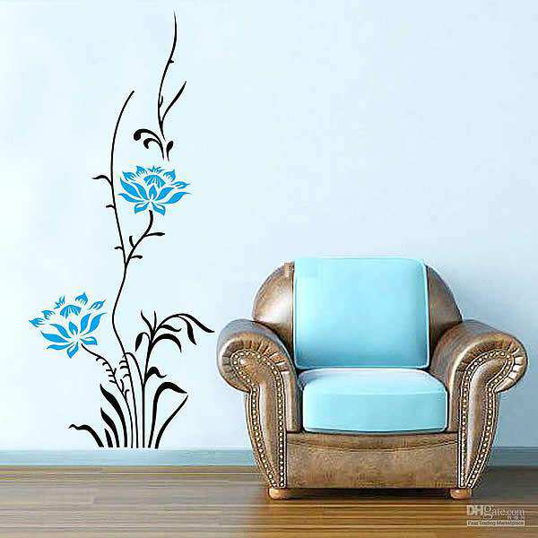 large blue rose flower vinyl art | flowers & tree | wall decals