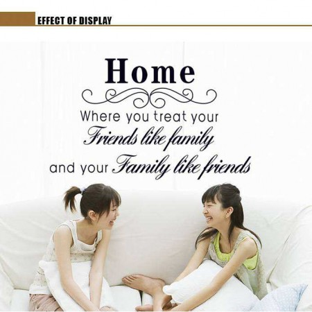 Wall Art Quote Friends Like Family Sticker