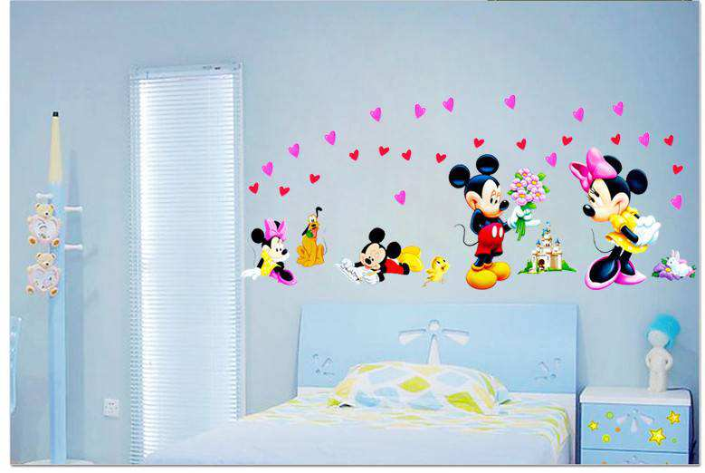 Mickey Mouse Love Minnie Wall Stickers  2 for  20. LARGE Mickey Mouse Love Minnie Wall Stickers   Nursery   Wall Decals