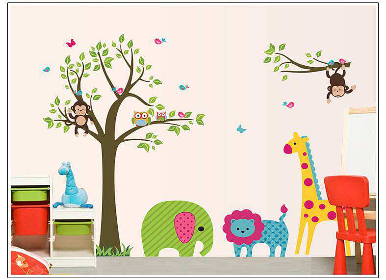 Monkey Owl Tree Butterfly Jungle Wall Stickers | Animals | Wall Decals