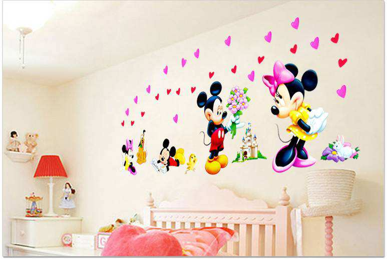 Large Mickey Mouse Love Minnie Wall Stickers Nursery
