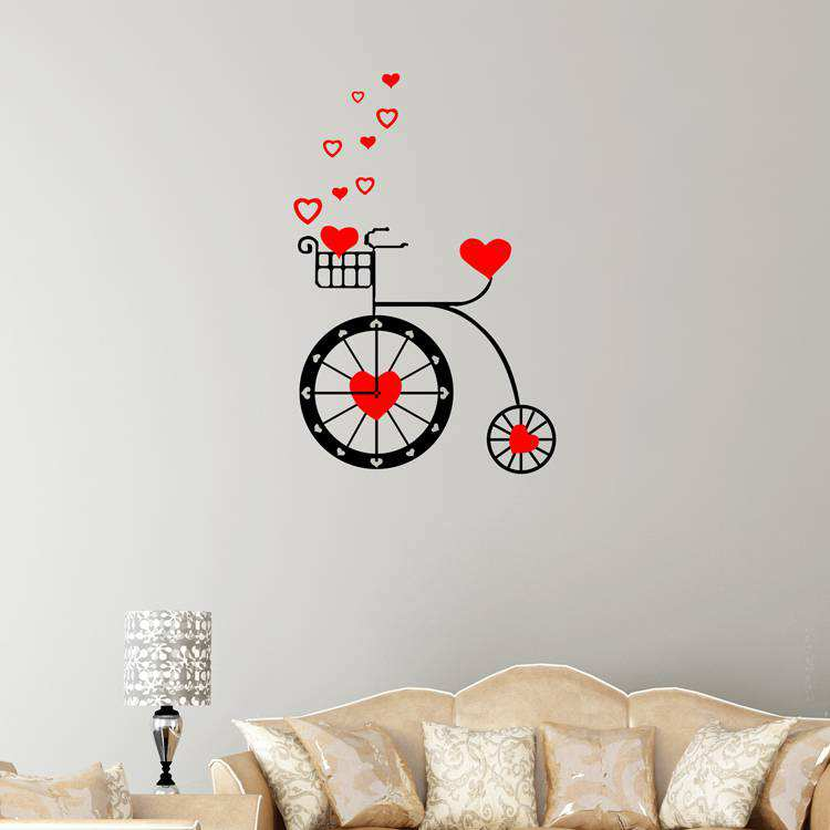 cute heart bike wall clock sticker | home decor | wall decals