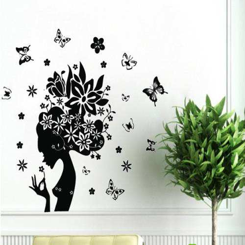 butterfly flower fairy girl removable pvc wall sticker | wall decals