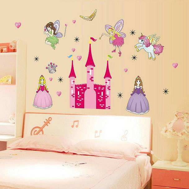 Large Fairy Princess Castle Wall Stickers Art