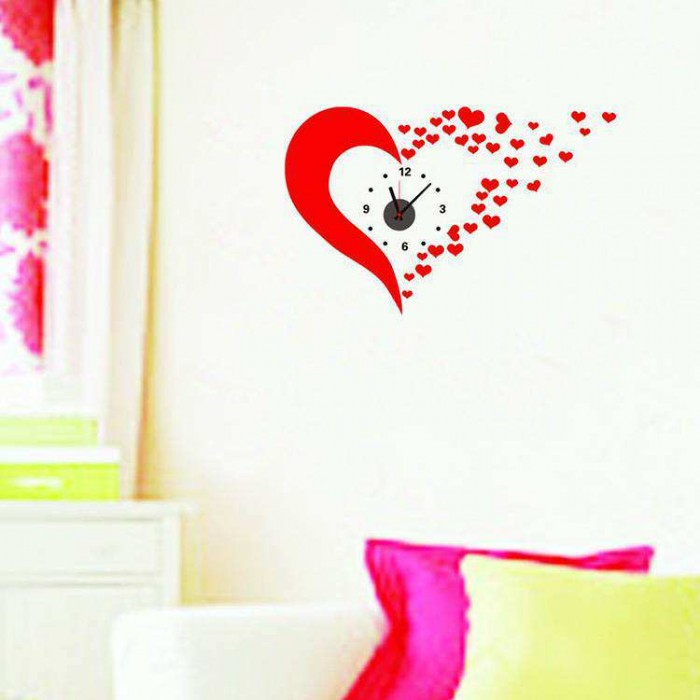 cute red heart diy wall clock sticker art | wall decals