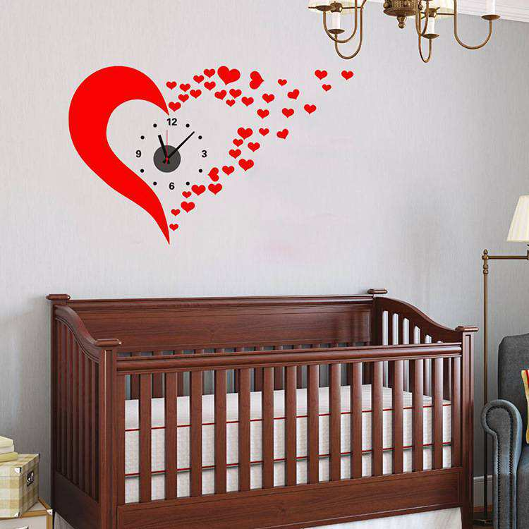 Cute Red Heart DIY Wall Clock Sticker Art Wall Decals