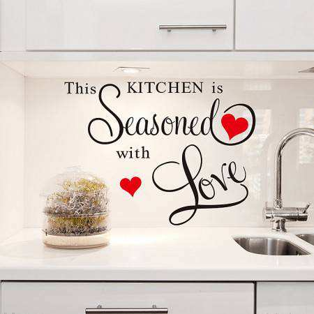 Kitchen Seasoned With Love Wall Quote Sticker Part 90