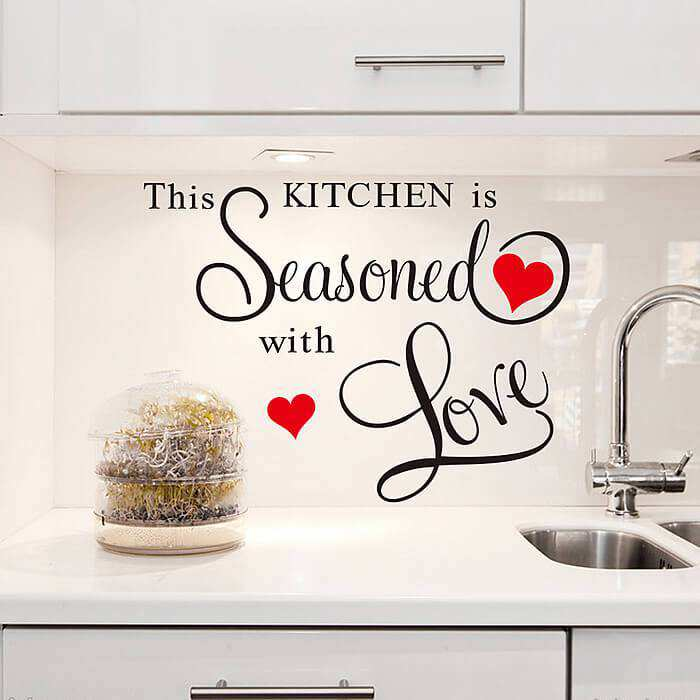 Love Wall Quotes Adorable Kitchen Seasoned With Love Wall Quote Sticker  Wall Decals
