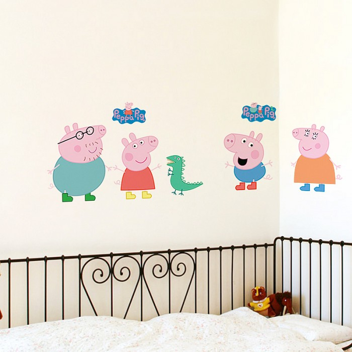 Peppa Pig Wall Stickers Animals Nursery Boys Room Wall Decals
