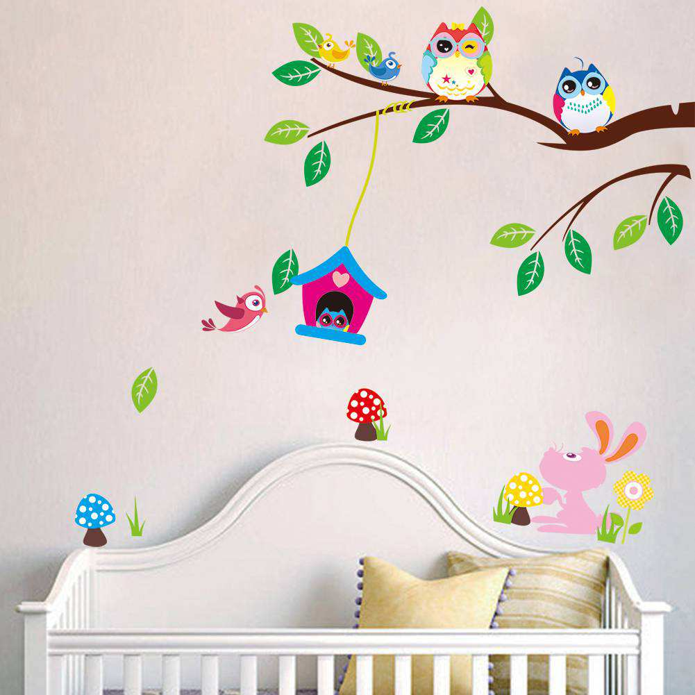 Flower owl tree wall stickers boys room wall decals amipublicfo Image collections