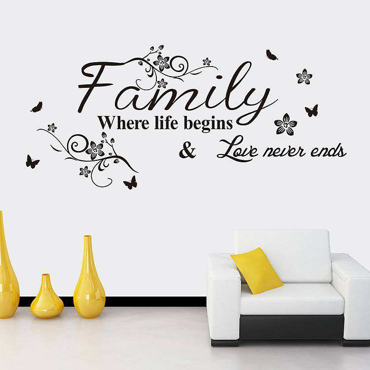 family where the life begins wall quotes decal stickers | wall decals