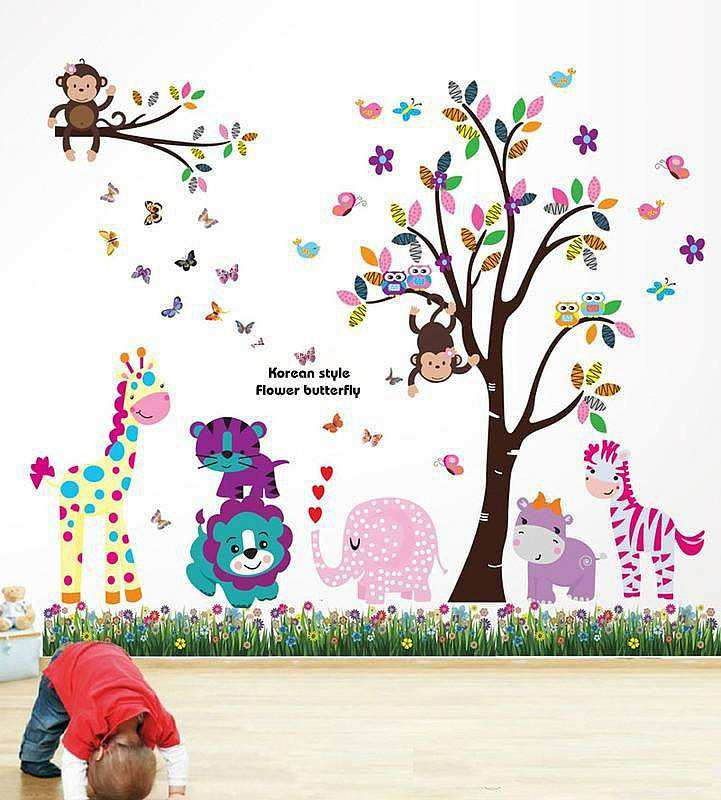 jungle zoo wall art sticker decal | animals |boys room | girls room