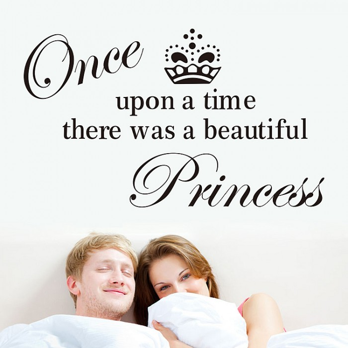 Once upon a time princess quotes wall stickers