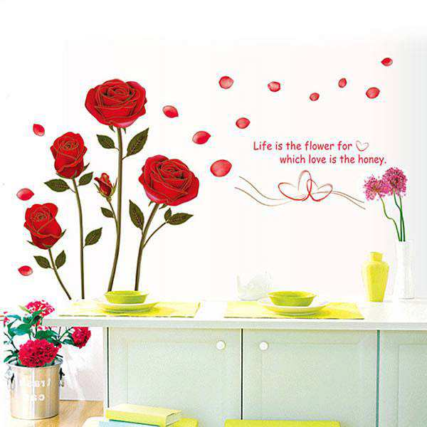 red rose flowers wall sticker decals | flowers & tree | wall decals