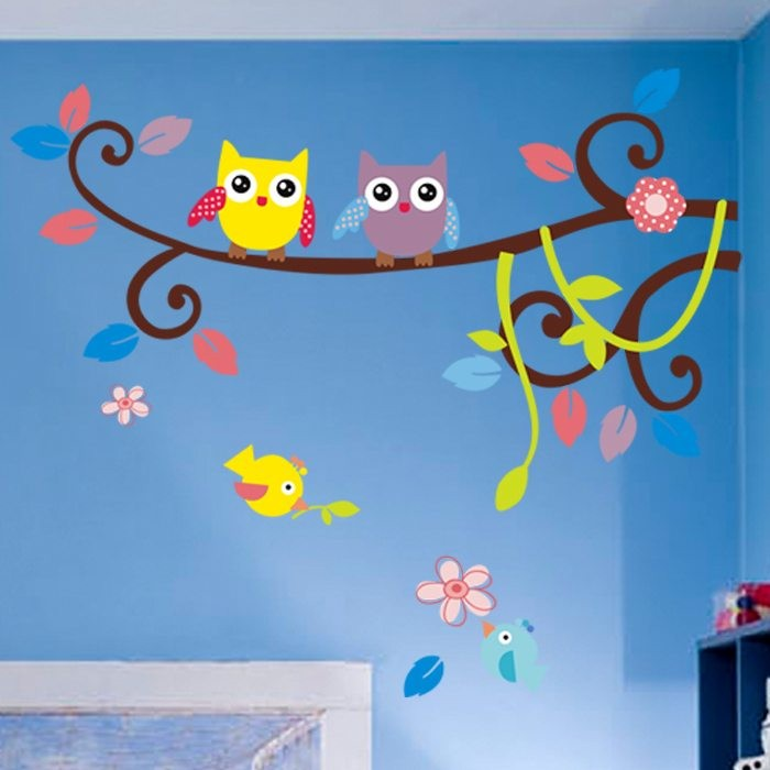 Flower Owl Tree Wall Stickers