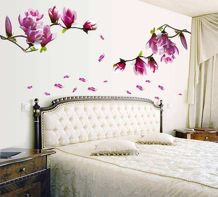 ... Lounge/Purple Magnolia Flowers Wall Stickers Decals. ;  Part 6