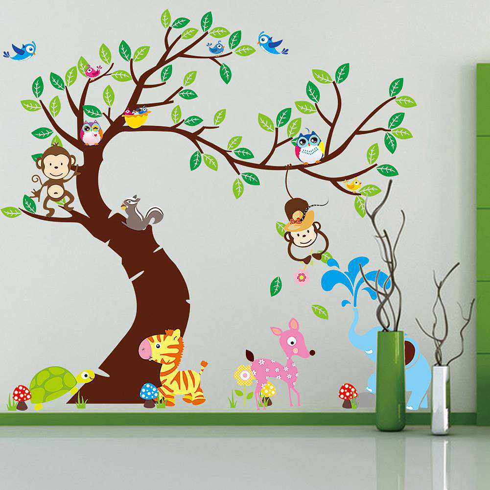 Large tree animals monkey owl wall stickers wall decals amipublicfo Image collections