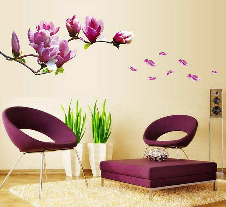 purple magnolia flowers wall stickers decals   wall decals