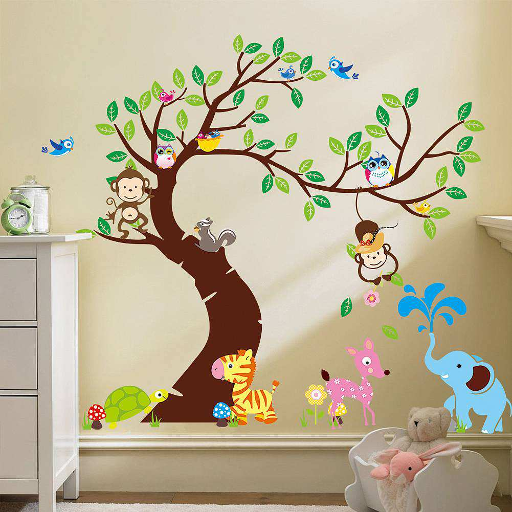 ... Nursery/Large Tree Animals Monkey Owl Wall Stickers. ;  Part 41