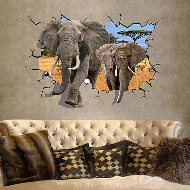 3d elephant wall sticker decal | animals | wall decals