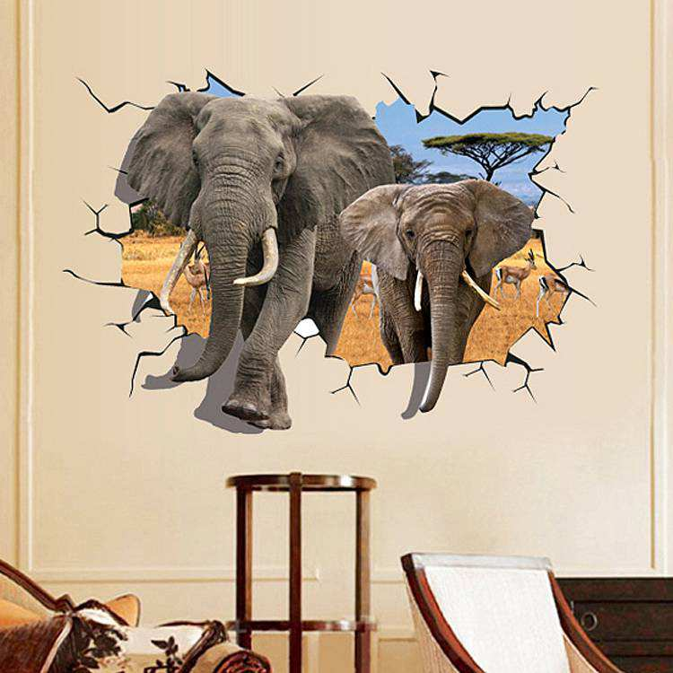 ... Boys Room, Home Decor/3D Elephant Wall Sticker Decal. 2 For U20ac20. ;  Part 35