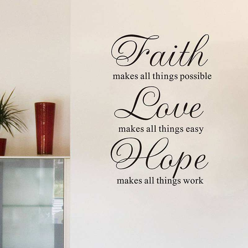 Image of: Religious Wall Decals Faith Love Hope Quote Wall Stickers Bedroom Lounge Wall Decals