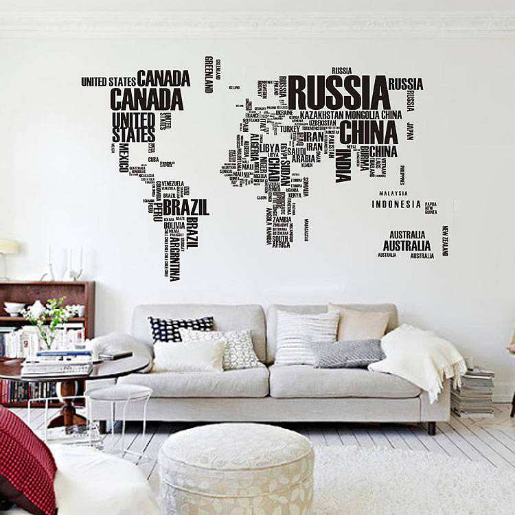 Full Wall World Map.World Map Wall Stickers Home Decor Lounge Wall Decals