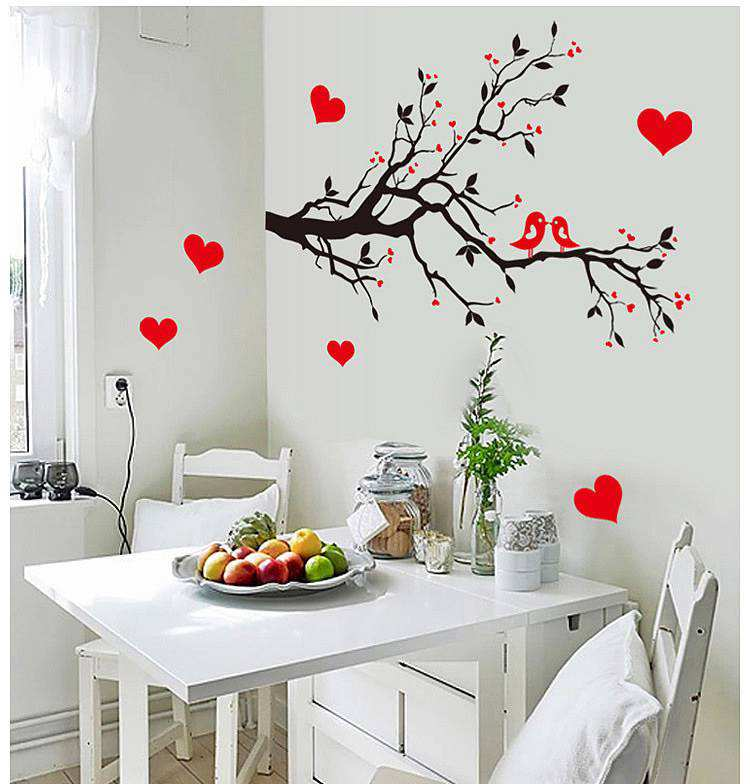 charming bedroom wall art stickers | Love birds tree branches wall sticker | Bedroom | Wall Decals