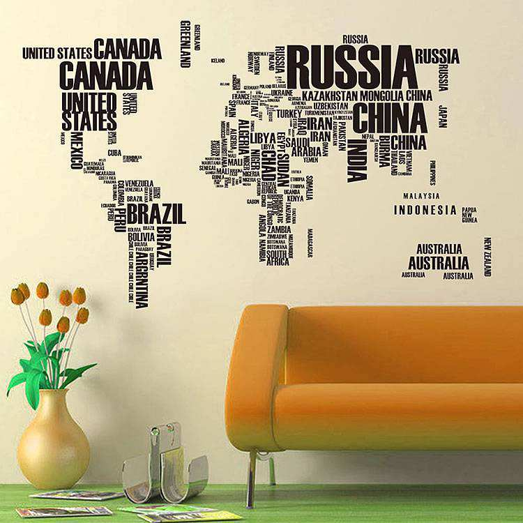 Map Of The World Decal.World Map Wall Stickers Home Decor Lounge Wall Decals