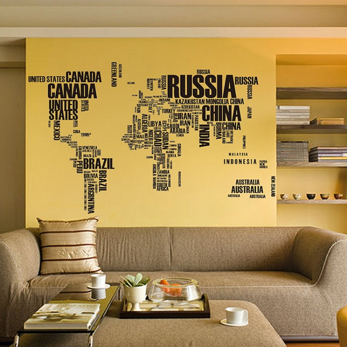 World Map Wall Stickers Home Decor Lounge Wall Decals
