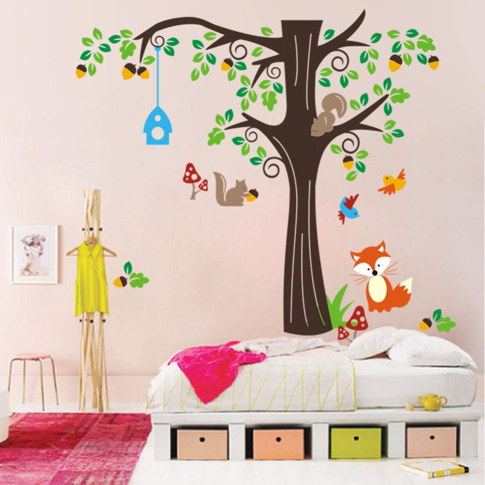 Birdcage Cats Tree Wall Sticker Boys Room Animals Wall Decals