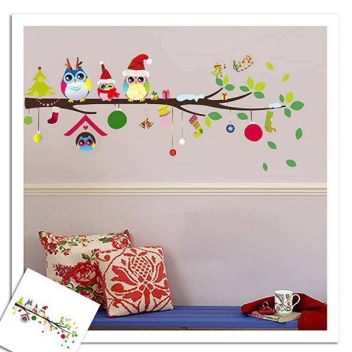 Colorful Owl Wall Stickers | Christmas Wall Stickers Decals | Wall Decals