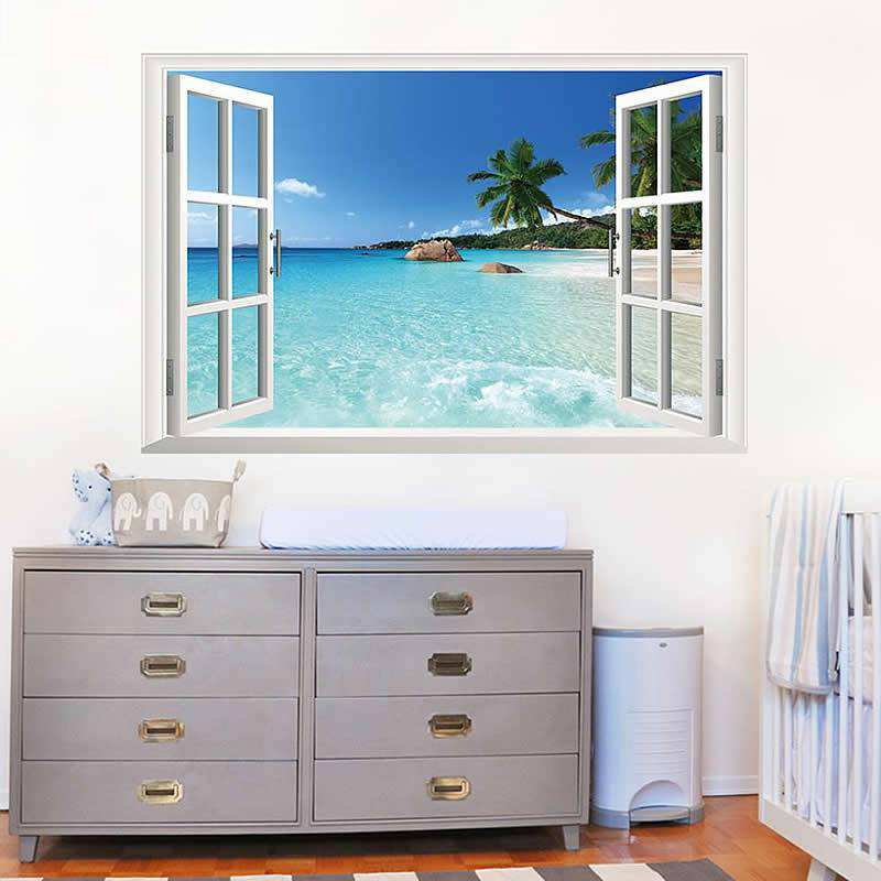 Beach view window wall stickers Home Decor Wall Decals