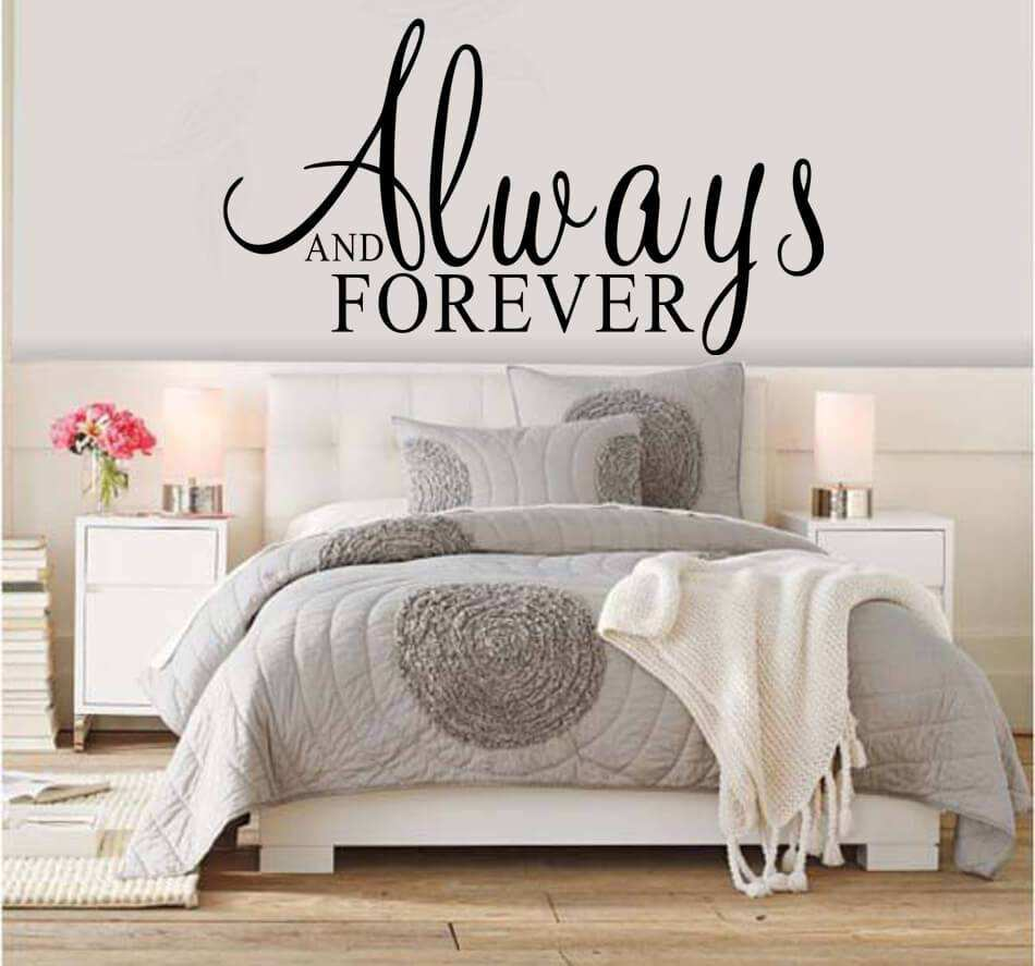 Always and forever quotes wall stickers bedroom wall decals amipublicfo Image collections