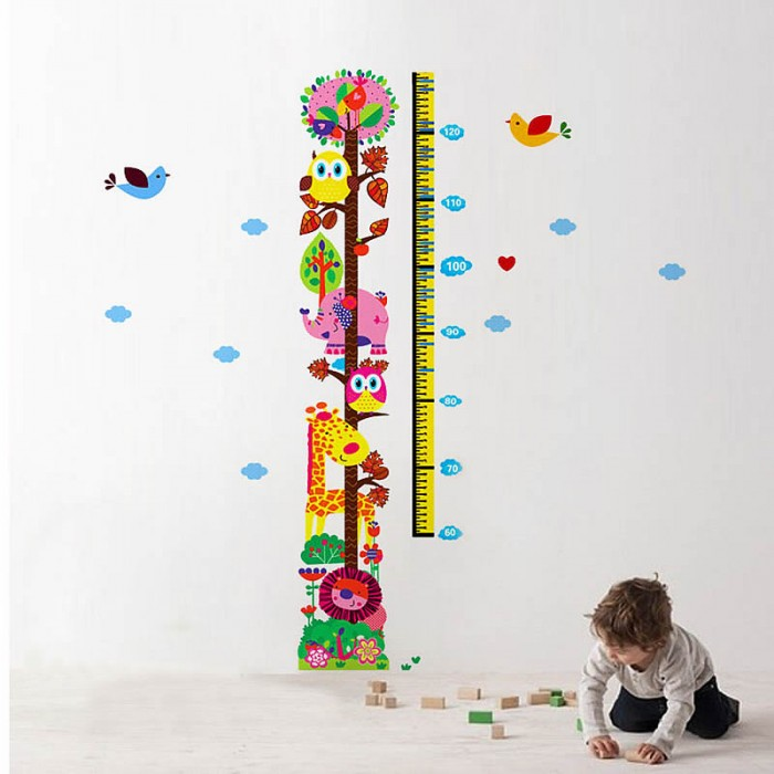 Animal height chart wall stickers
