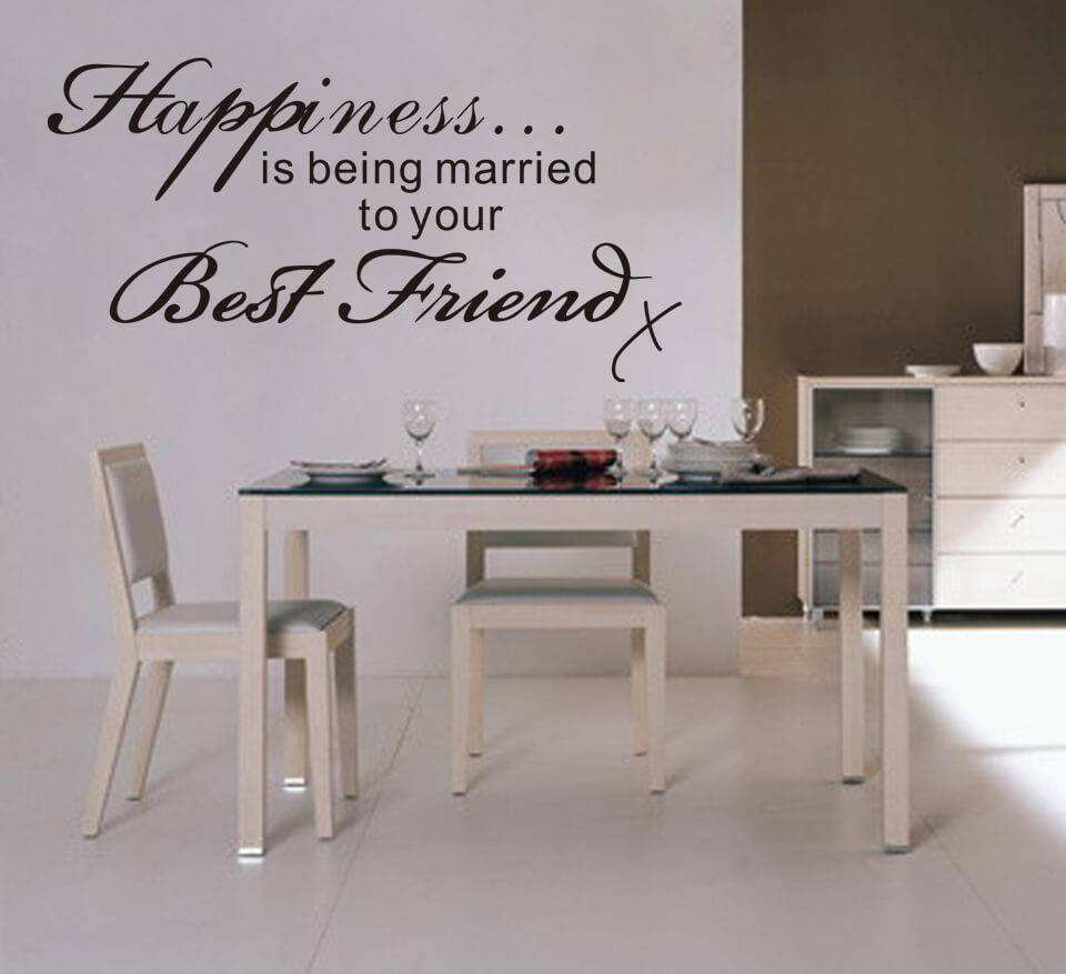 happiness is being married to your best friend quote wall decal