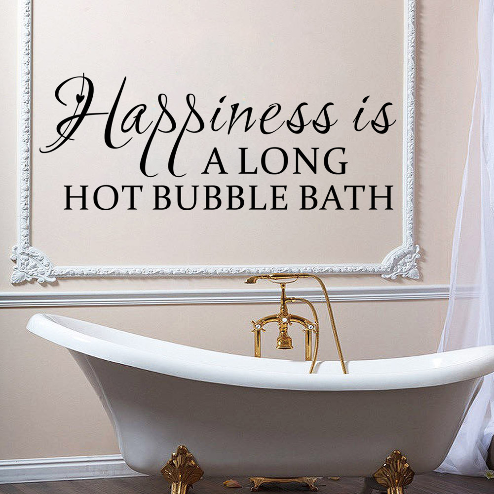 Bathroom wall decor quotes - Happiness Is A Long Hot Bubble Bath Wall Quote Decal