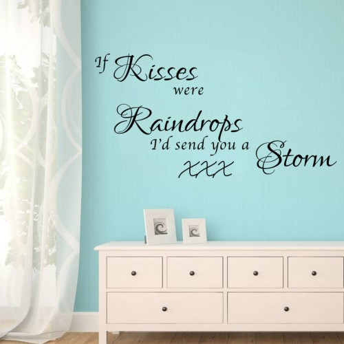 If Kisses were raindrops wall quote decals