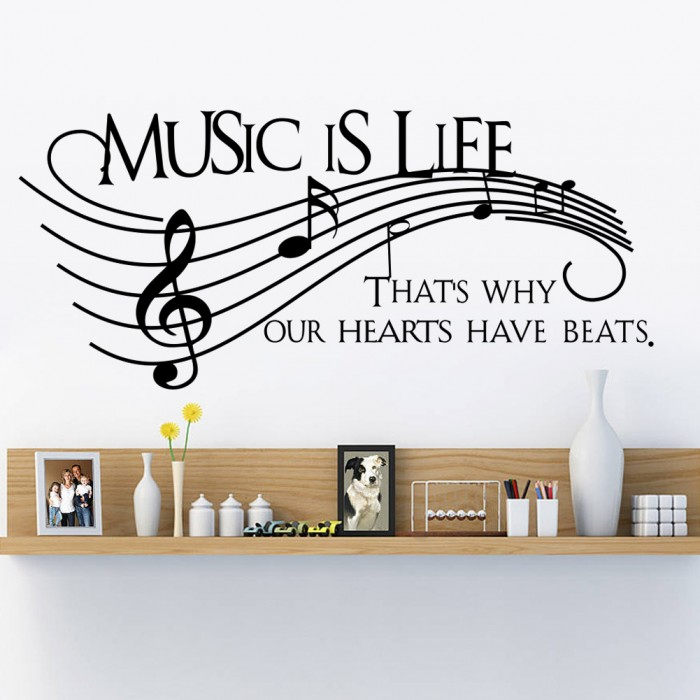 Music is life Wall Quote Stickers Decals