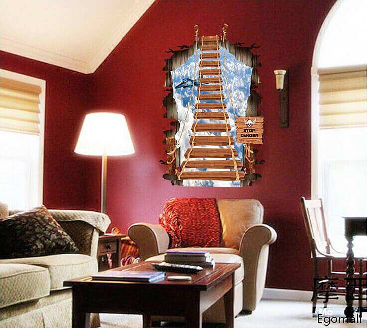 3d Stairs Wall Decal Sticker Art Boys Room Wall Stickers