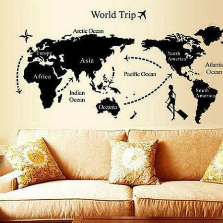 World map wall stickers decals home decor boys room wall decals gumiabroncs Image collections