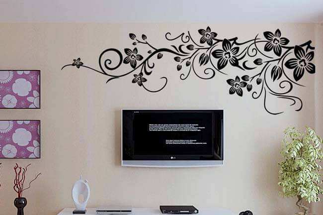 Good Black Flower Wall Decal Bedroom Lounge Part 25