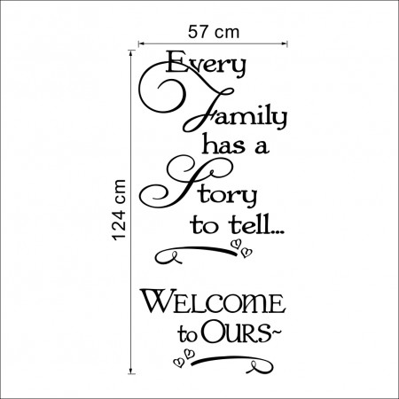 Every family has story to tell wall quote art decals